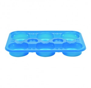 PS RECTANGULAR CUP TRAY 6 CAVITIES